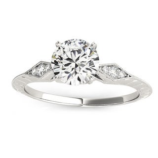Transcendent Brilliance 14k White Gold Vintage Petite Diamond Engagement Ring 5/8 TDW