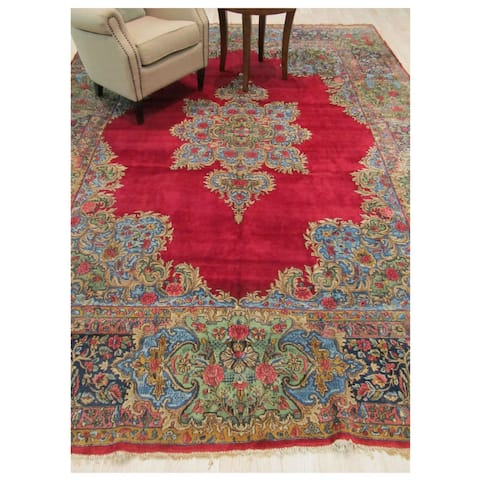Hand-knotted Wool Red Traditional Oriental Kerman Rug - 9' x 12'