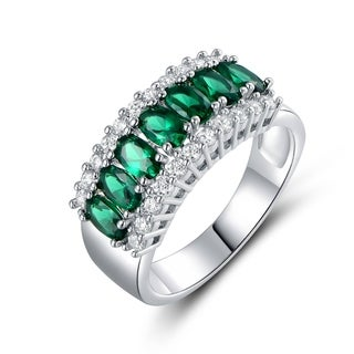 18k White Goldplated 2ct TGW Oval-cut Emerald and Cubic Zirconia Ring