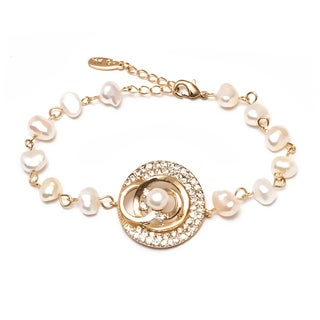 Goldplated Crystal and Freshwater Pearl Circle Bracelet