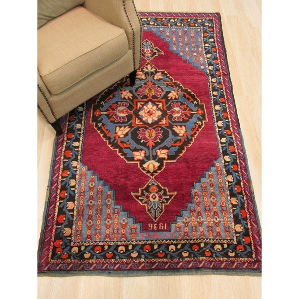 Hand Knotted Wool Red Traditional Oriental Dagestan Rug 3 X27