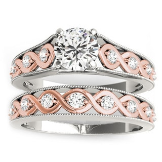Transcendent Brilliance 14k Two Tone Gold Diamond Bridal Ring Set 3/4 TDW