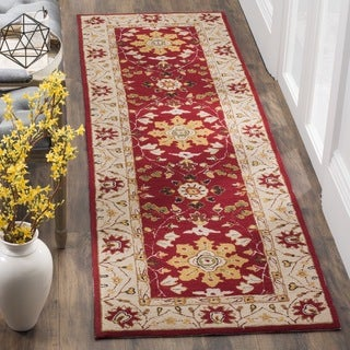 Safavieh Hand Hooked Easy To Care Red/ Ivory Runner (2' 6 x 8')