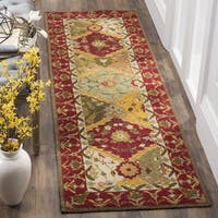 Safavieh Hand Hooked Easy To Care Multicolored/ Red Runner (2' 6 x 10')