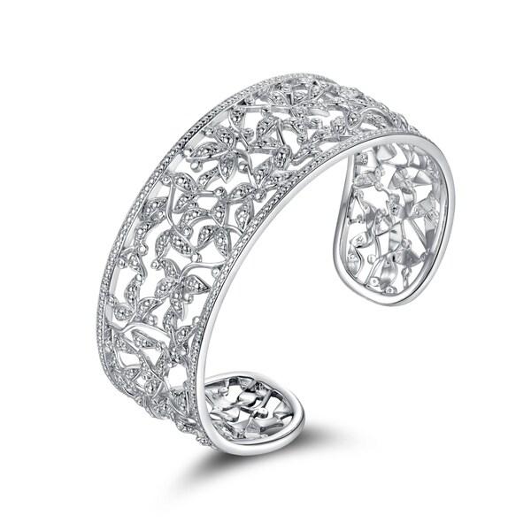 Rhodium Plated Brass Diamond Accent Filigree Leaf Cuff Bangle - Silver