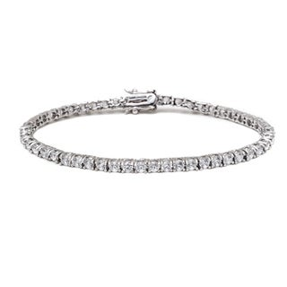 Rhodium-plated Silver White Round-cut Crystal Tennis Bracelet