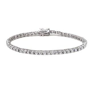 Rhodium-plated Silvertone White Round-cut Crystal Tennis Bracelet - Silver