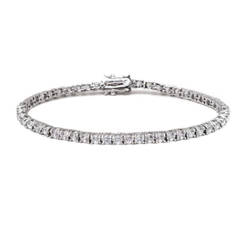 Rhodium-plated Silvertone White Round-cut Crystal Tennis Bracelet - Silver