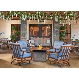Trisha Yearwood Outdoor Firepit and 4 Demo Denim Stationary Chairs