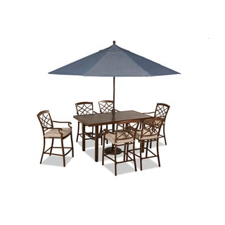 Trisha Yearwood Outdoor Espadrille Driftwood High Dining Set with Demo Denim 11 ft. Umbrella