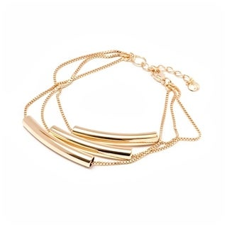 18K Goldplated Brass Triple Strand Bracelet with Bar Beads