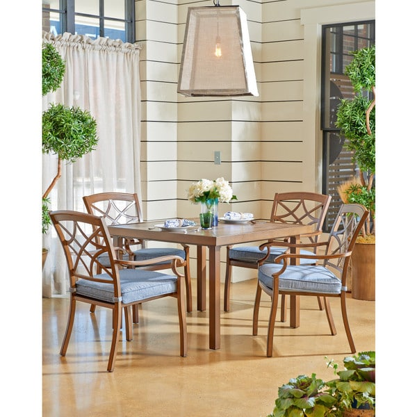 Trisha Yearwood Outdoor 42 Inch Dining Table With 4 Demo Denim Dining Chairs