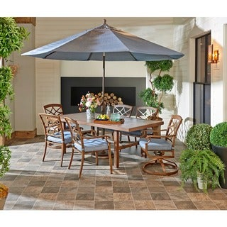 Trisha Yearwood Outdoor Demo Denim Dining Set with 9 ft. Umbrella