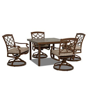 Trisha Yearwood Outdoor Espadrille Driftwood 42-inch Dining Table with 4 Swivel Rocking Dining Chairs