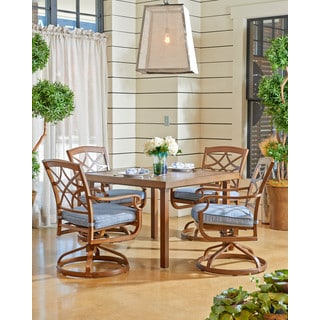 Trisha Yearwood Outdoor 42-inch Dining Table with 4 Demo Denim Swivel Rocking Dining Chairs