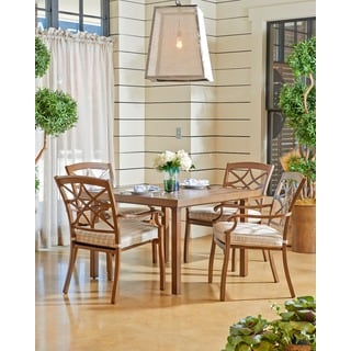 Trisha Yearwood Outdoor Espadrille Driftwood 42-inch Dining Table with 4 Dining Chairs