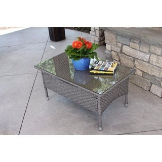 Modern Outdoor Grey Rattan Wicker 36-inch Dining Table