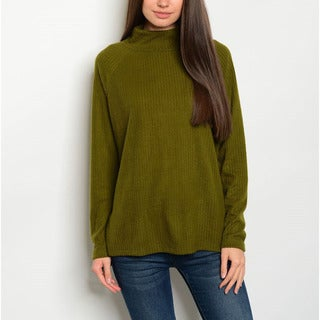 JED Women's Ribbed Relax Fit Polyester, Rayon Turtleneck Sweater Top