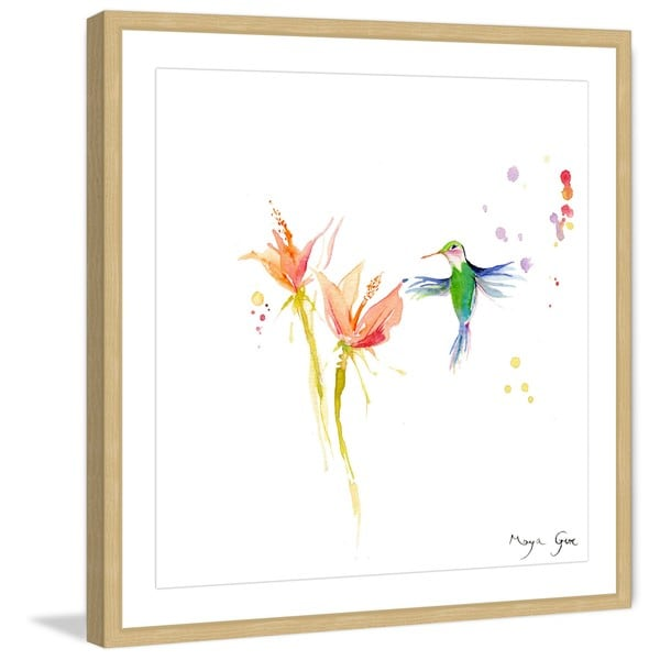 Marmont Hill - 'Green Hummingbird' by Maya Gur Framed Painting Print - Multi