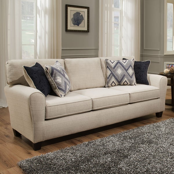 Sofab Madison Cream Sofa With Accent Pillows Free Shipping Today Overstock Com 20123104