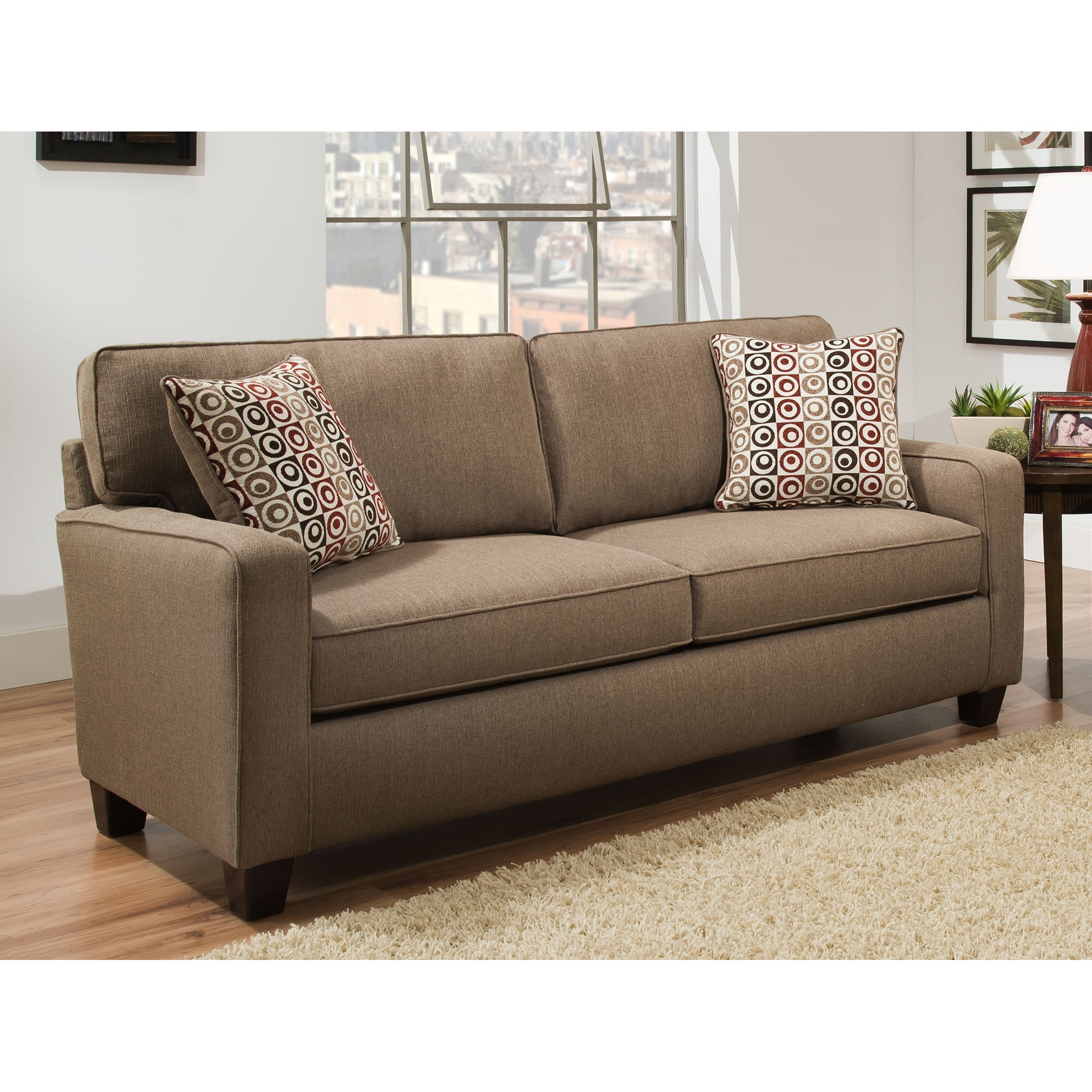Shop Sofab Riley Nutmeg Brown Sofa With Two Reversible Accent Pillows Overstock 13430835