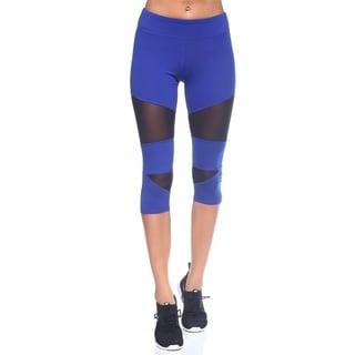 Women's Blue and Black Nylon Capri Legging