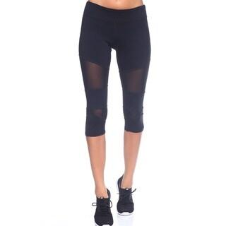 Women's Blue and Black Nylon Capri Legging