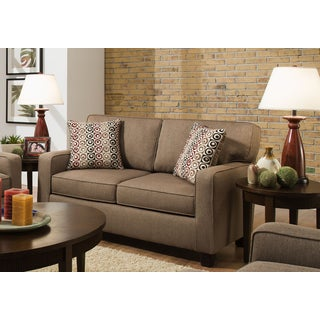 Sofab Riley Nutmeg Brown Love Seat with Accent Pillows