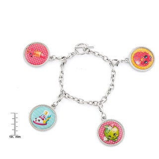 Shopkins Silvertone Chidren's Printed Bottle Cap D'Lish Donut, Apple Blossom, Sneaky Wedge, and Lippy Lips Charm Bracelet