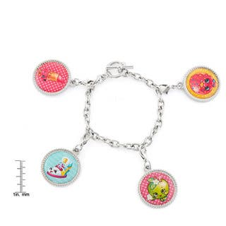 Shopkins Silvertone Chidren's Printed Bottle Cap D'Lish Donut, Apple Blossom, Sneaky Wedge, and Lippy Lips Charm Bracelet|https://ak1.ostkcdn.com/images/products/13430844/P20123095.jpg?impolicy=medium