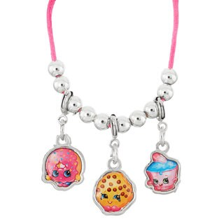 Shopkins Silvertone Chidren's Zinc Alloy Donut/Cookie/Cupcake 19-inch Clip On Charm Necklace