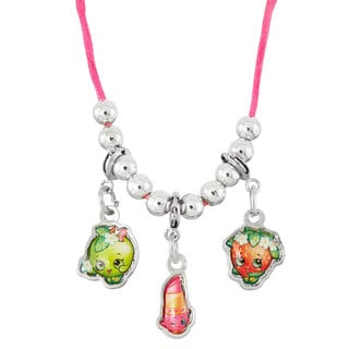 Shopkins Silvertone Chidren's Zinc Alloy Strawberry/Lip/Apple Clip On Charm 19-inch Necklace