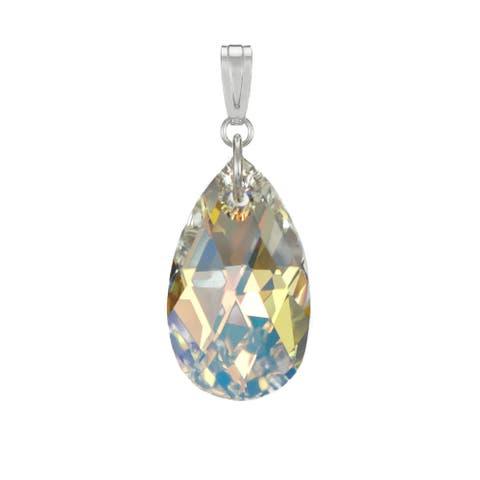 Handmade Jewelry by Dawn Aurora Borealis Swarovski Crystal Pear Sterling Silver Pendant (USA)