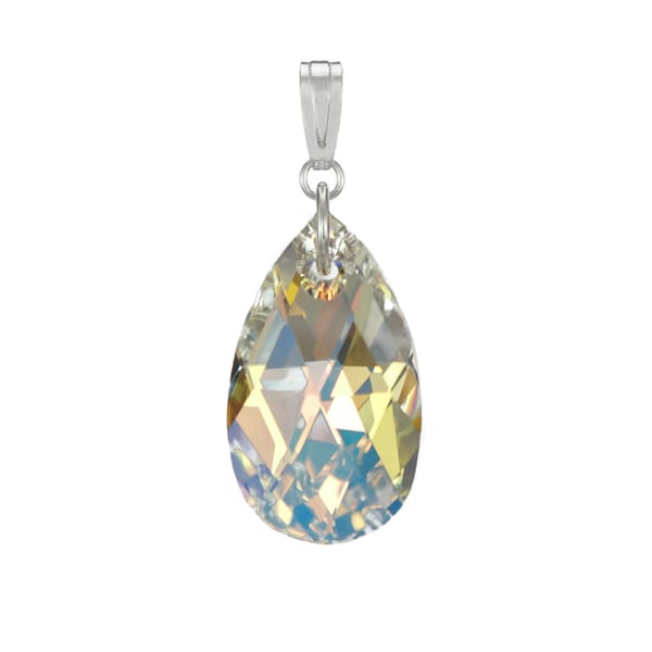 157b3dfc8 Shop Handmade Jewelry by Dawn Aurora Borealis Swarovski Crystal Pear Sterling  Silver Pendant (USA) - On Sale - Free Shipping On Orders Over $45 -  Overstock ...