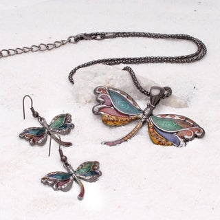 Bleek2Sheek Gunmetal Onyx-tone Rainbow Mosaic Dragonfly Choker Necklace and Earring Jewelry Set