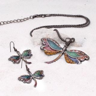 Bleek2Sheek Gunmetal Onyx-tone Rainbow Mosaic Dragonfly Choker Necklace and Earring Jewelry Set