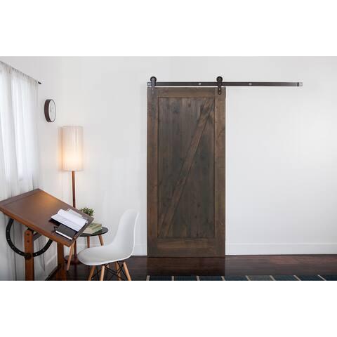 Ironwood Hardware Grey Wood Z-Barn Unassembled Door with Raw Steel Hardware