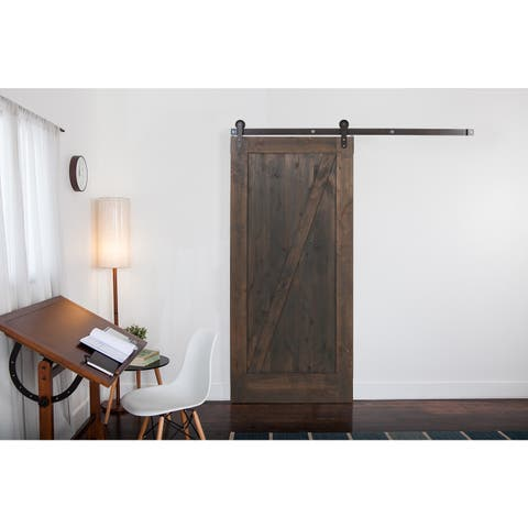 Ironwood Hardware Grey Wood Z-Barn Unassembled Door with Raw Steel Hardware