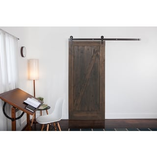 Ironwood Hardware Grey Wood and Raw Steel Z Barn Door