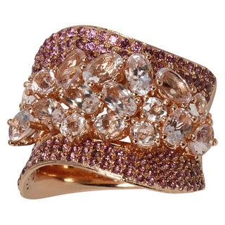 Sonia Bitton Rose Gold Plated Sterling Silver Morganite and Rhodolite Ring
