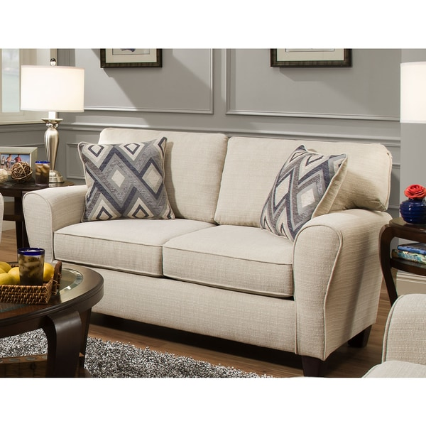 Sofab Madison Cream Love Seat With Two Reversible Accent Pillows