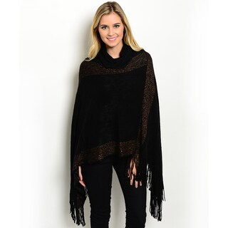 Shop the Trends Women's Black Acrylic Knit Two-tone Fringe Cowl Turtleneck Poncho