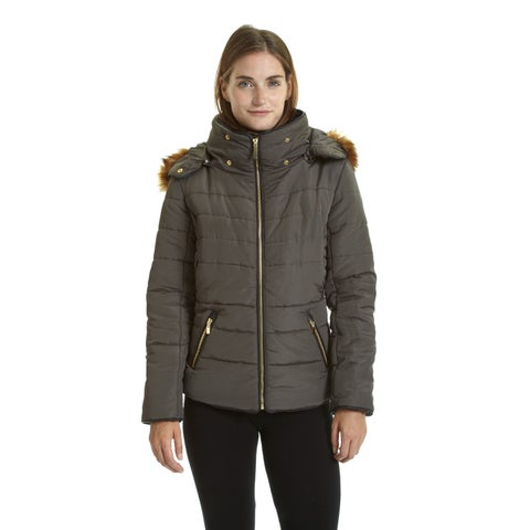 Excelled Ladies Polyester and Faux Fur Short Puffer Jacket
