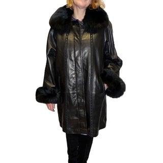 Knoles & Carter Black Lambskin/Leather Swing Coat with Fox Fur Collar