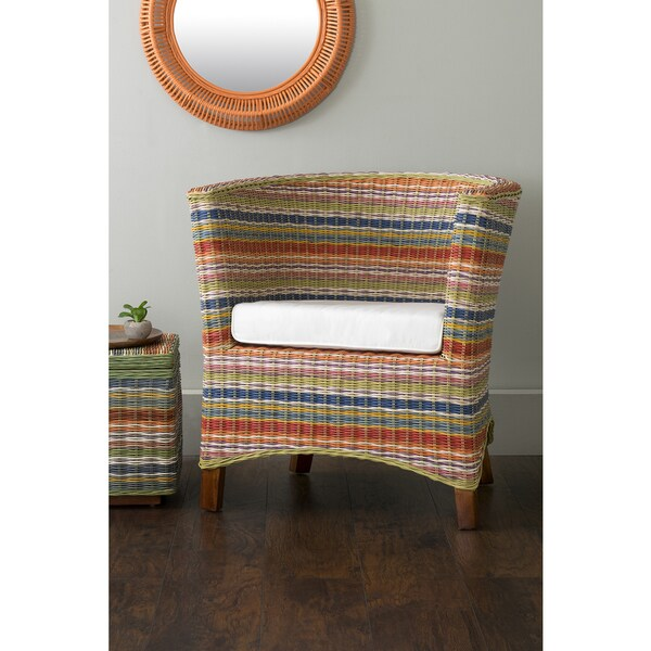 East At Mainu0026#x27;s Highland Multi Colored Rattan Occasional Chair