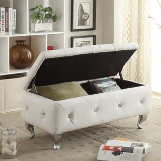 Leather Upholstered Tufted Storage Bench in White(As Is Item)