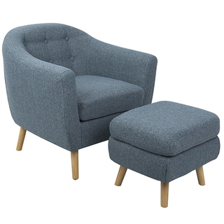 Rockwell Mid-Century Modern Accent Chair with Ottoman