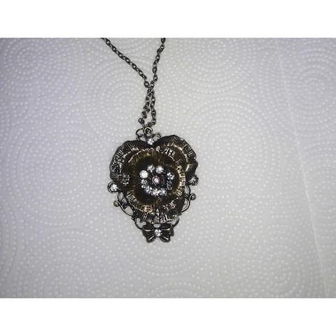 Women's Antique Bronze Flower Pendant Necklace