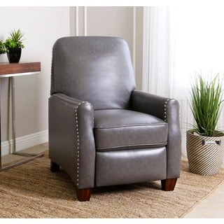 Abbyson Dawson Grey Leather Pushback Recliner