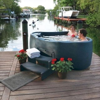 Aqua Rest Stainless Steel 2-person Spa with 14 Jets and LED Waterfall